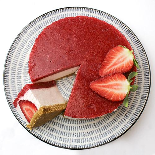 Tarta de queso con fresas sin horno